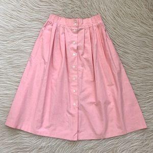 VTG bubble gum Pink button down midi skirt stretch